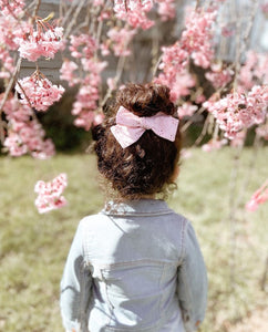 Nyla Knotted Hair Bow - Pink Eyelet - Adassa Rose