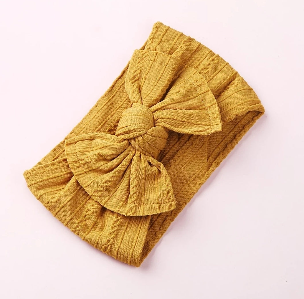 Mia Cable Knit Bow Headwrap - Mustard - Adassa Rose