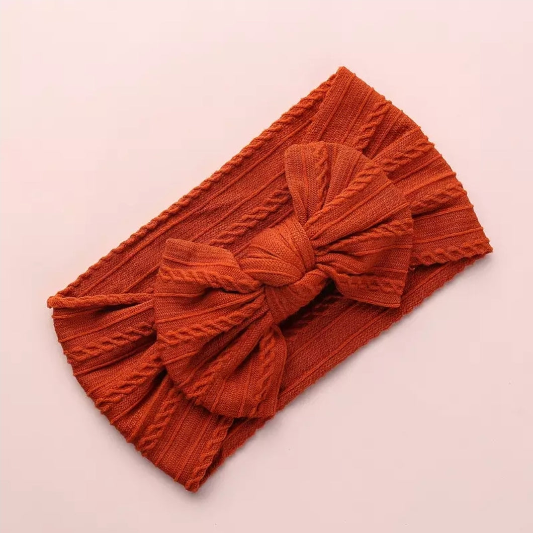 Lara Cable Knit Bow Headwrap | Rust - Adassa Rose