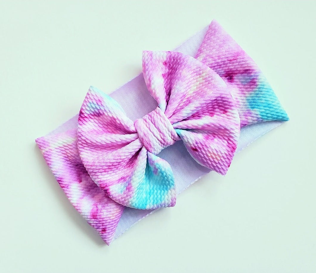 Big Bow Headband Tie Dye| Big Bow Headwrap Baby Pink