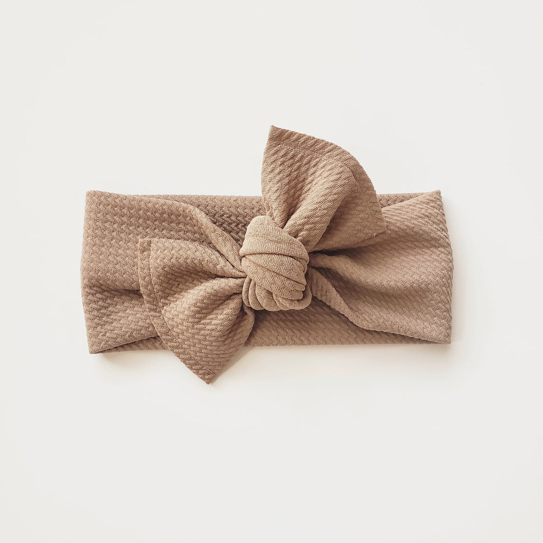 Nola Bow Headband - Tan