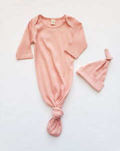 Knotted Baby Gown Set | Ribbed Peachy Pink