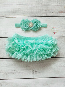 Mint Lace Ruffle Bloomer And Headband Set - Adassa Rose