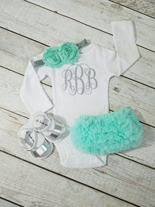 Mint And Silver Newborn Outfit Mint Coming Home Outfit Girl - Adassa Rose