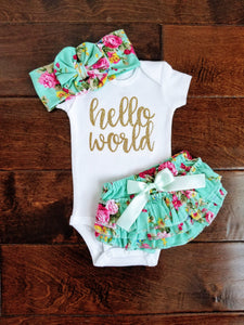 Emma Hello World Newborn Outfit Hello World Bodysuit Coming Home Outfit Girl - Adassa Rose