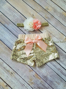 Peach And Gold Sequin Shorts And Headband Set - Adassa Rose