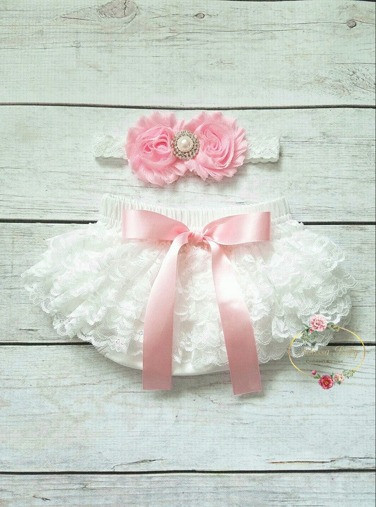 Vintage Inspired Pink And White Bloomer And Headband - Adassa Rose
