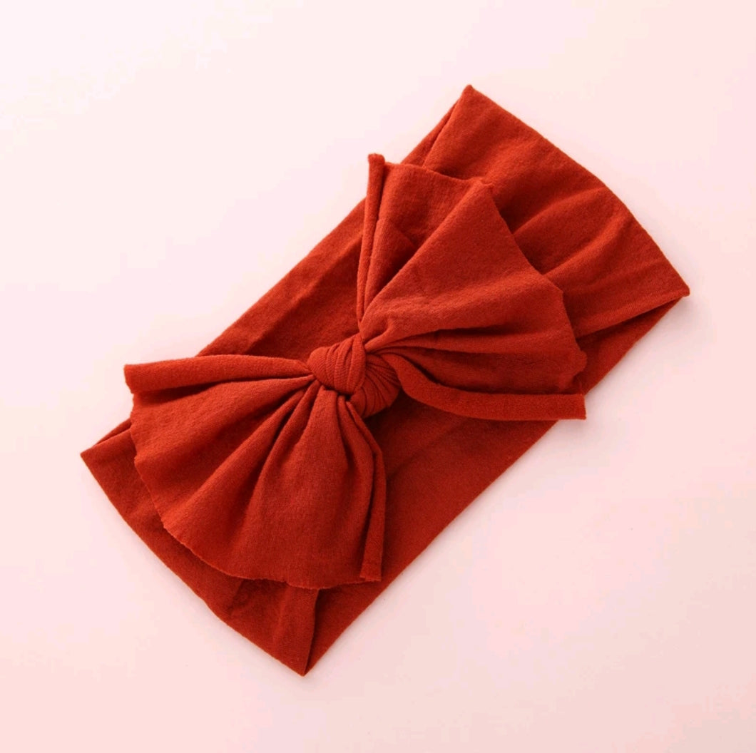 Aubrey Nylon Bow Headwrap Burned Orange - Adassa Rose