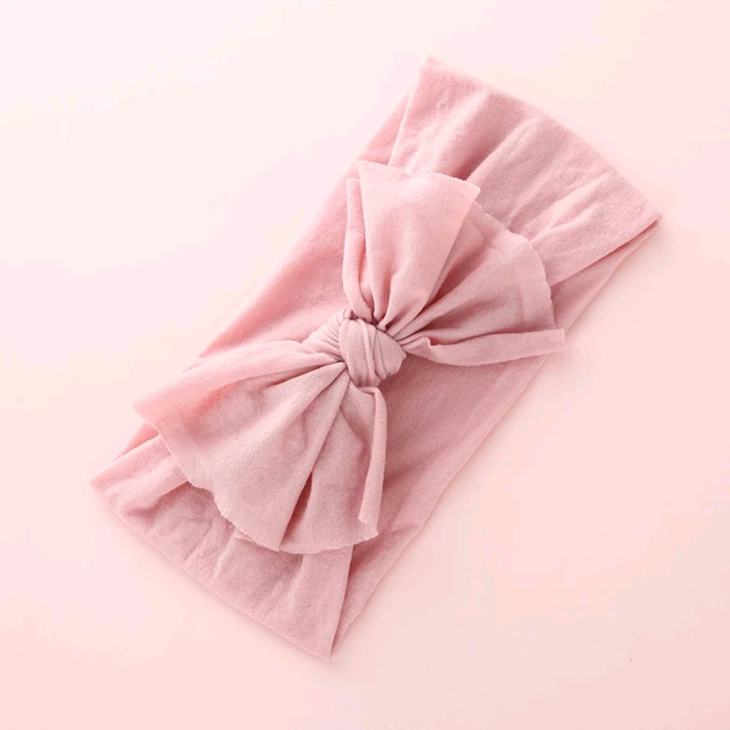 Aubrey Nylon Bow Headwrap Blush - Adassa Rose
