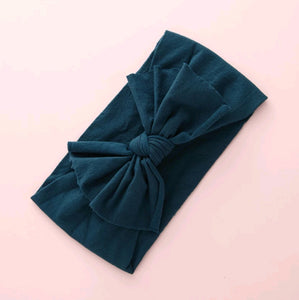 Aubrey Nylon Bow Headwrap Teal - Adassa Rose