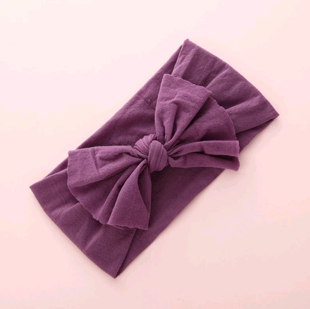Aubrey Nylon Bow Headwrap Plum - Adassa Rose