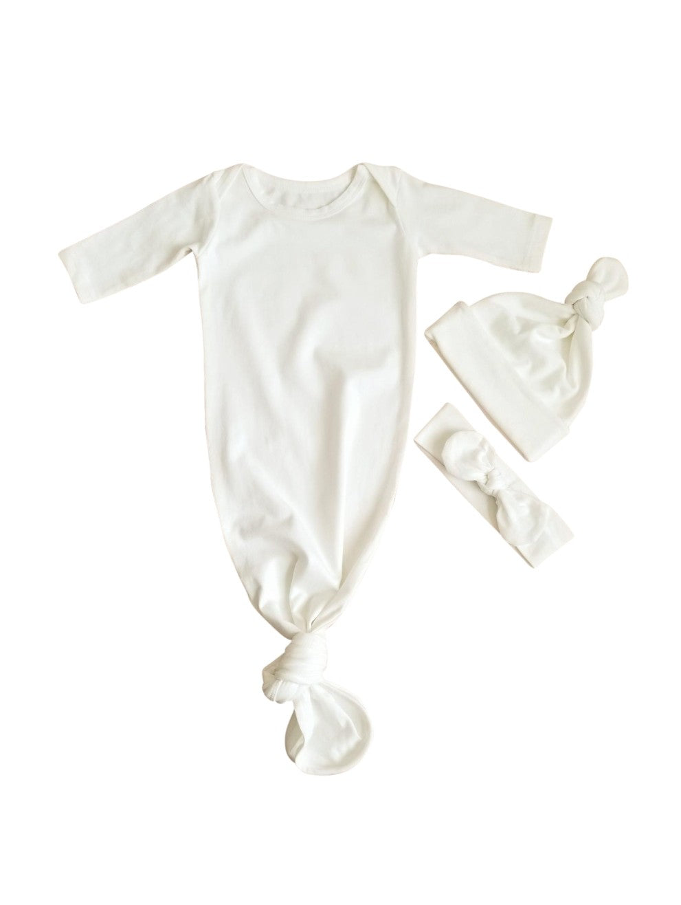 Ivory Newborn Knotted Gown Neutral Coming Home Outfit Girl Boy - Adassa Rose