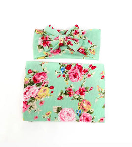 Sweet Mint And Pink Floral Swaddle Set - Adassa Rose