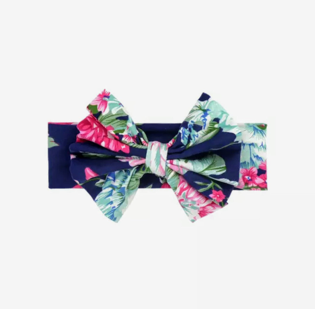 Navy Floral Messy Bow Headwrap Baby - Adassa Rose