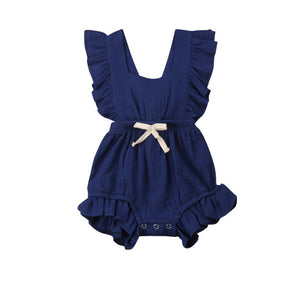 Mila Ruffle Romper Royal Navy - Adassa Rose