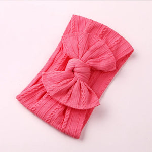 Cable Knit Bow Headwrap [Coral] - Adassa Rose