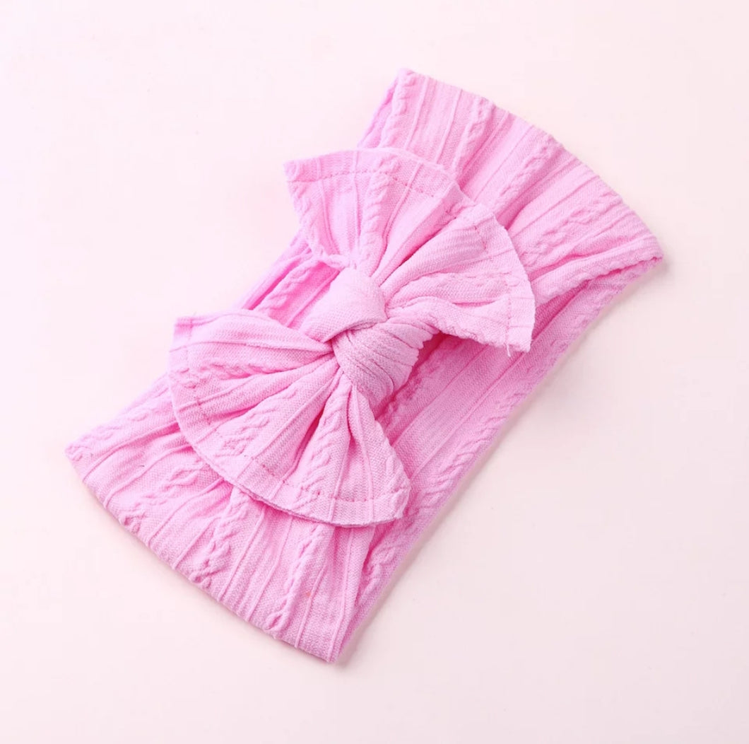 Mia Cable Knit Bow Headwrap [Bubble Gum Pink] - Adassa Rose