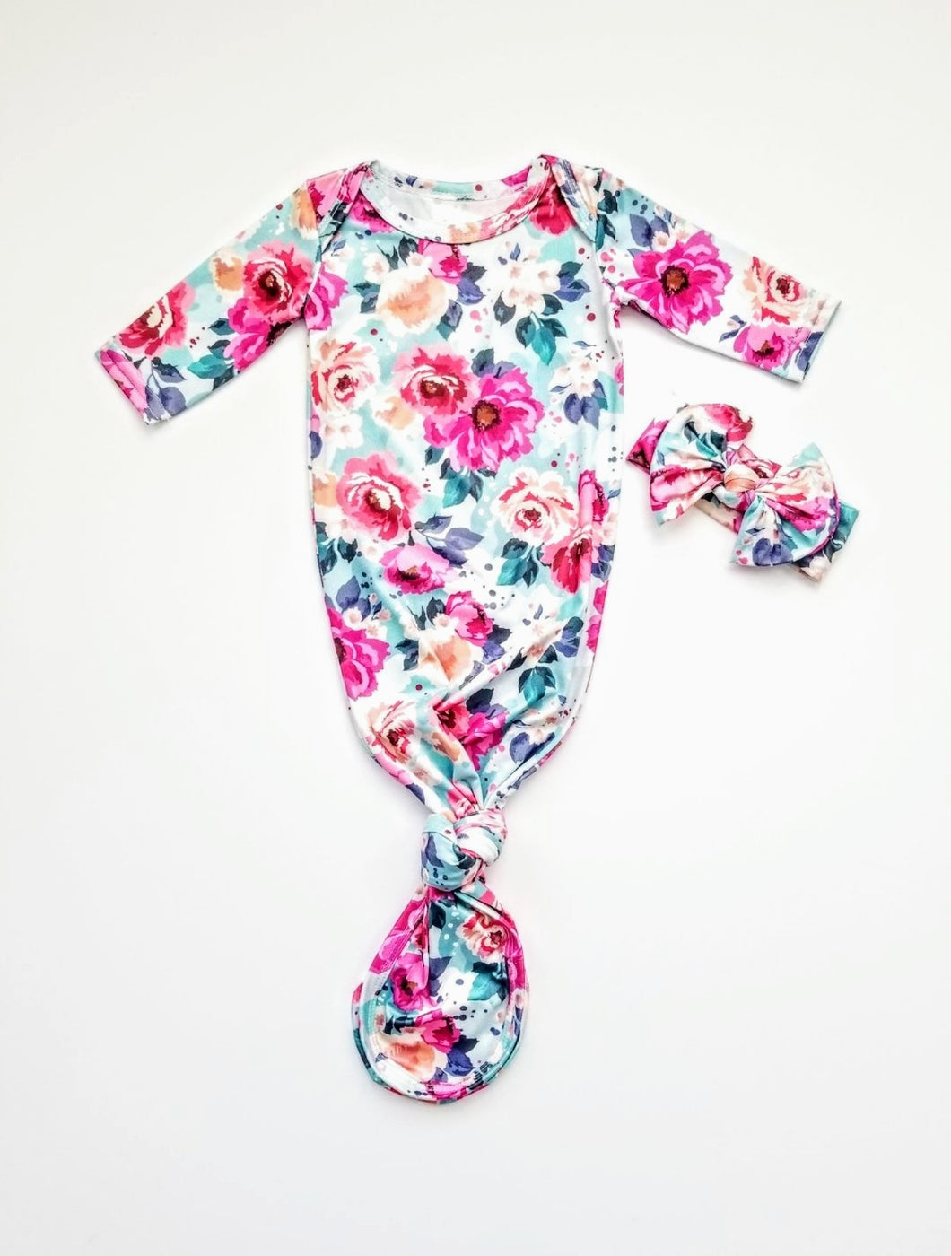 Willa Floral Newborn Knotted Gown | Coming Home Outfit Girl - Adassa Rose