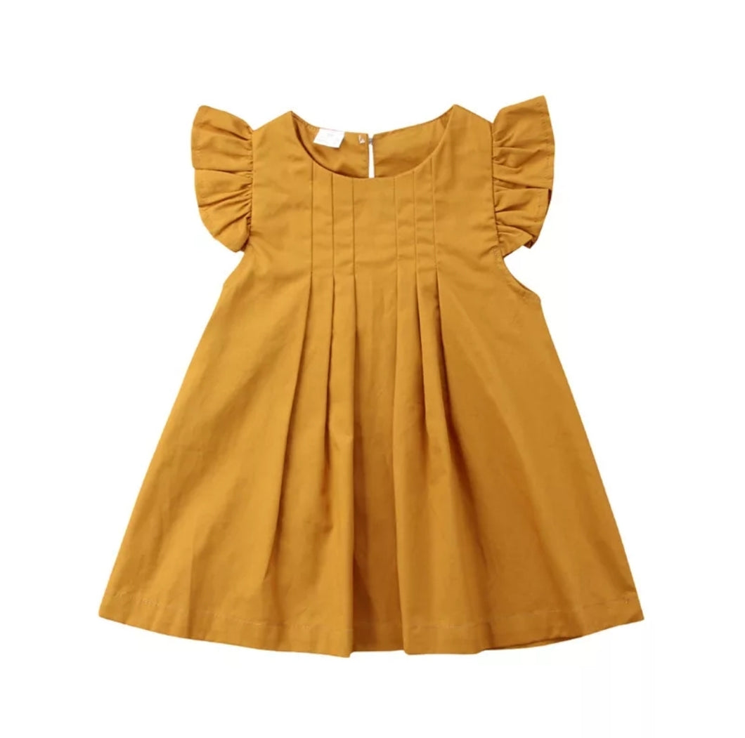 Ayla Pleated Flutter Sleeve Dress Baby Girl  Mustard - Adassa Rose