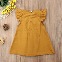Load image into Gallery viewer, Ayla Pleated Flutter Sleeve Dress Baby Girl  Mustard - Adassa Rose