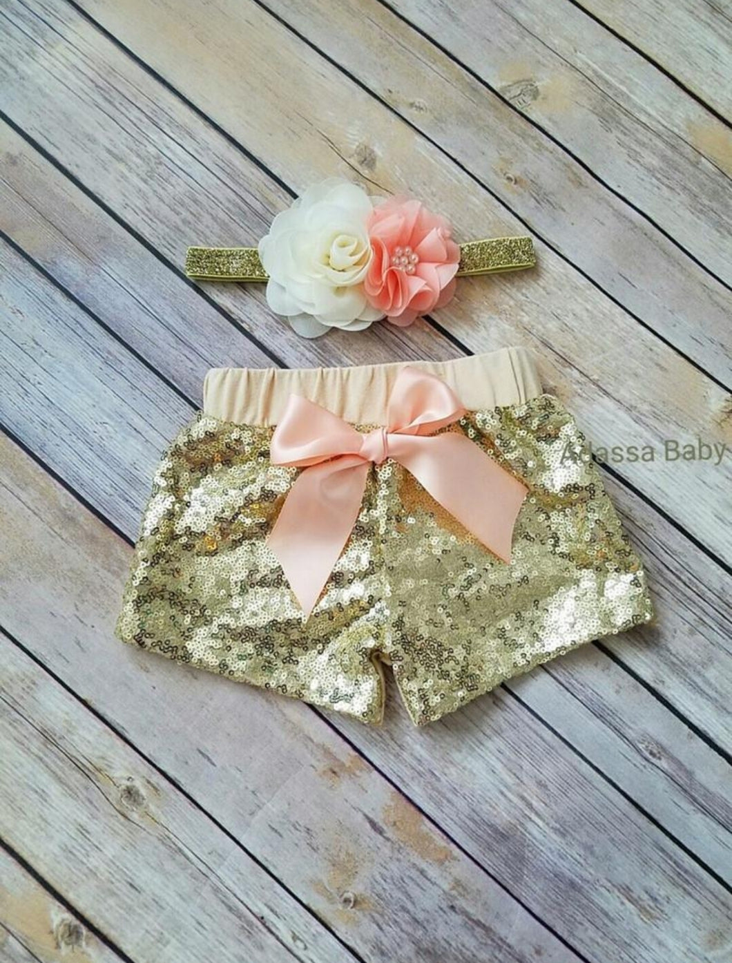 Peach And Gold Sequin Shorts - Adassa Rose