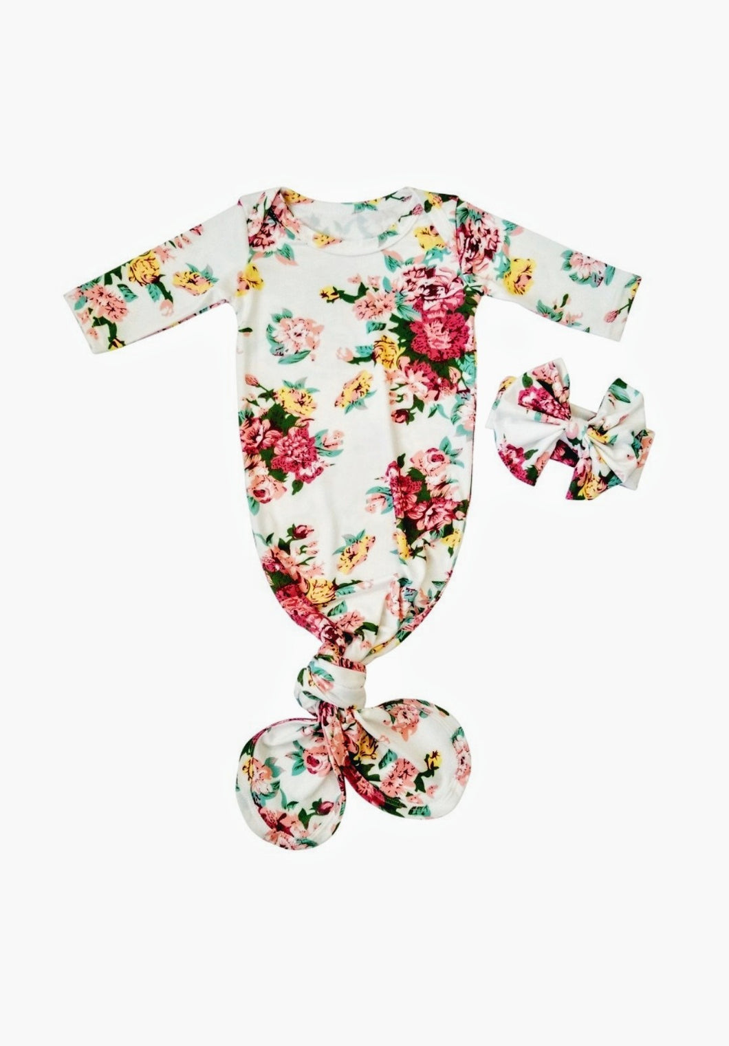 Scarlett Knotted Newborn Gown Coming Home Outfit Girl - Adassa Rose
