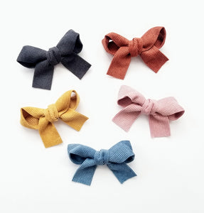 Corduroy Sailor Bow Clip Set - Adassa Rose