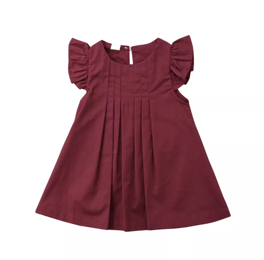 Ayla Pleated Flutter Sleeve Dress Baby Girl Burgundy - Adassa Rose