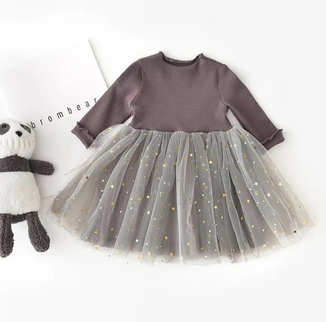 Yara Sparkle Tutu Dress Girl - Gray - Adassa Rose