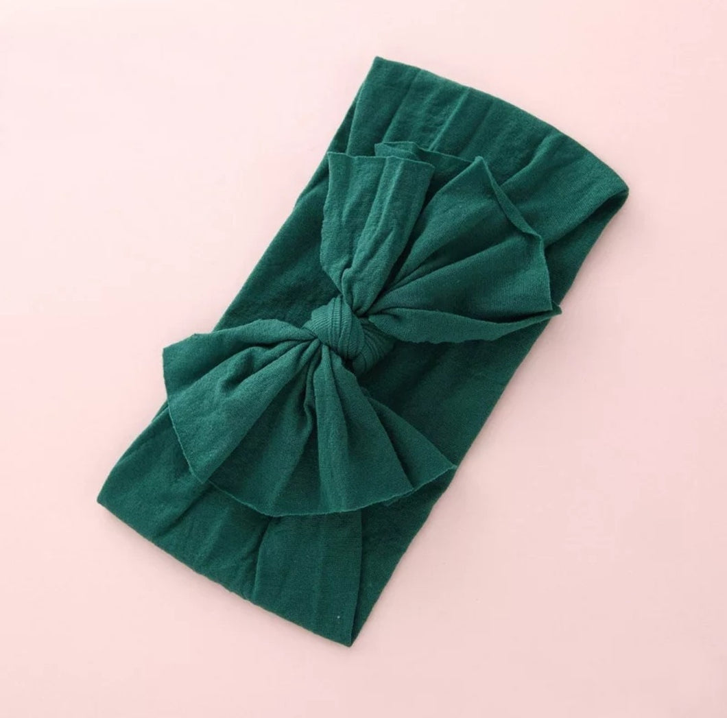 Aubrey Nylon Bow Headwrap Emerald - Adassa Rose