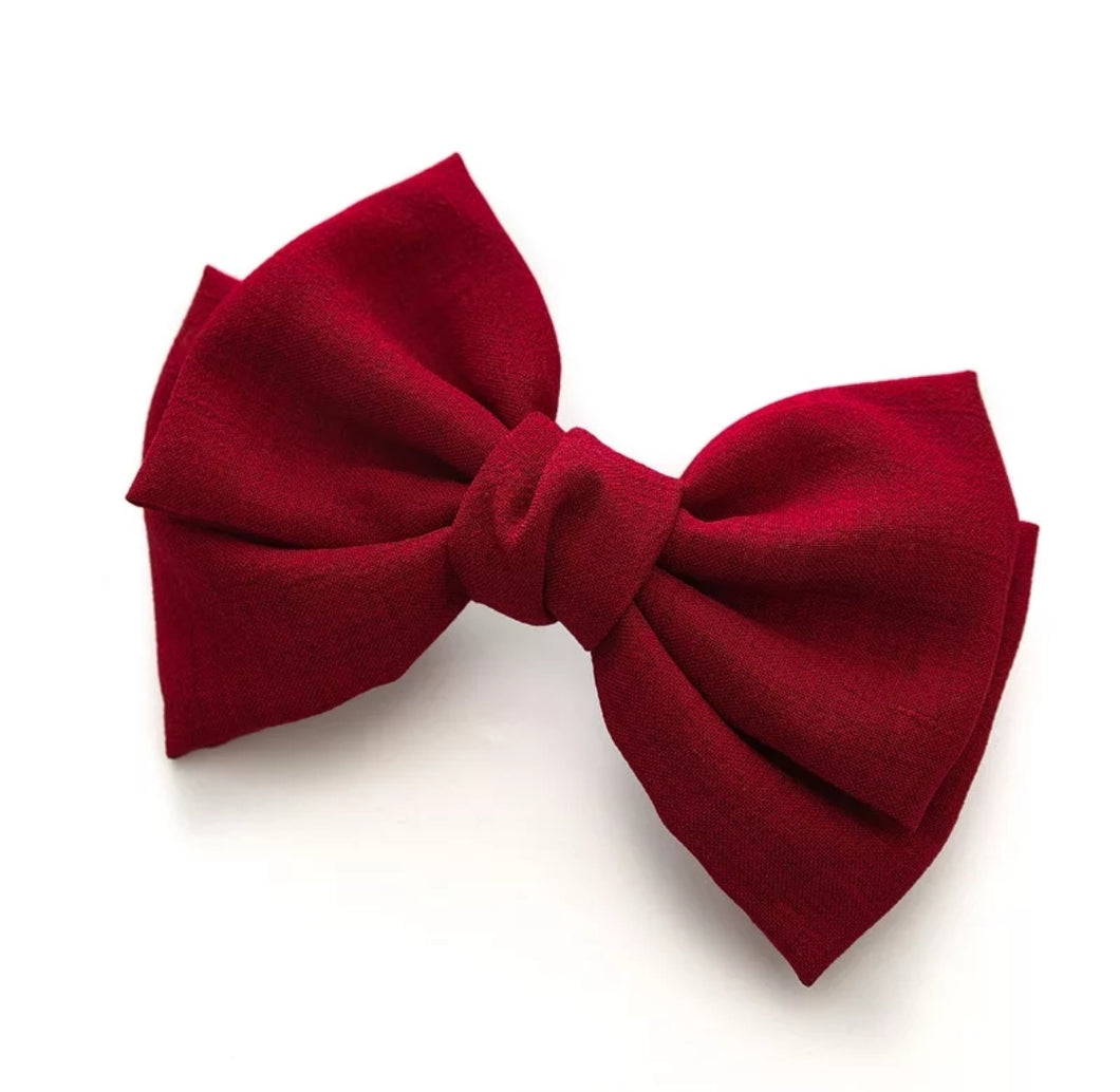 Bridget Oversized Linen Hair Bow - Red