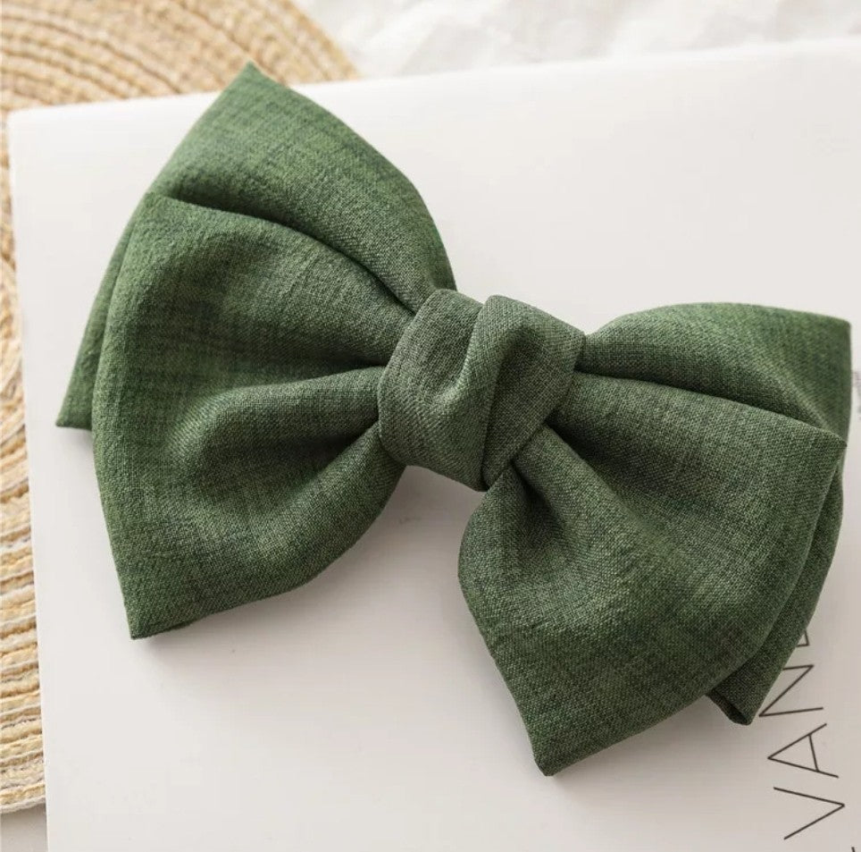 Bridget Oversized Linen Hair Bow - Olive Green