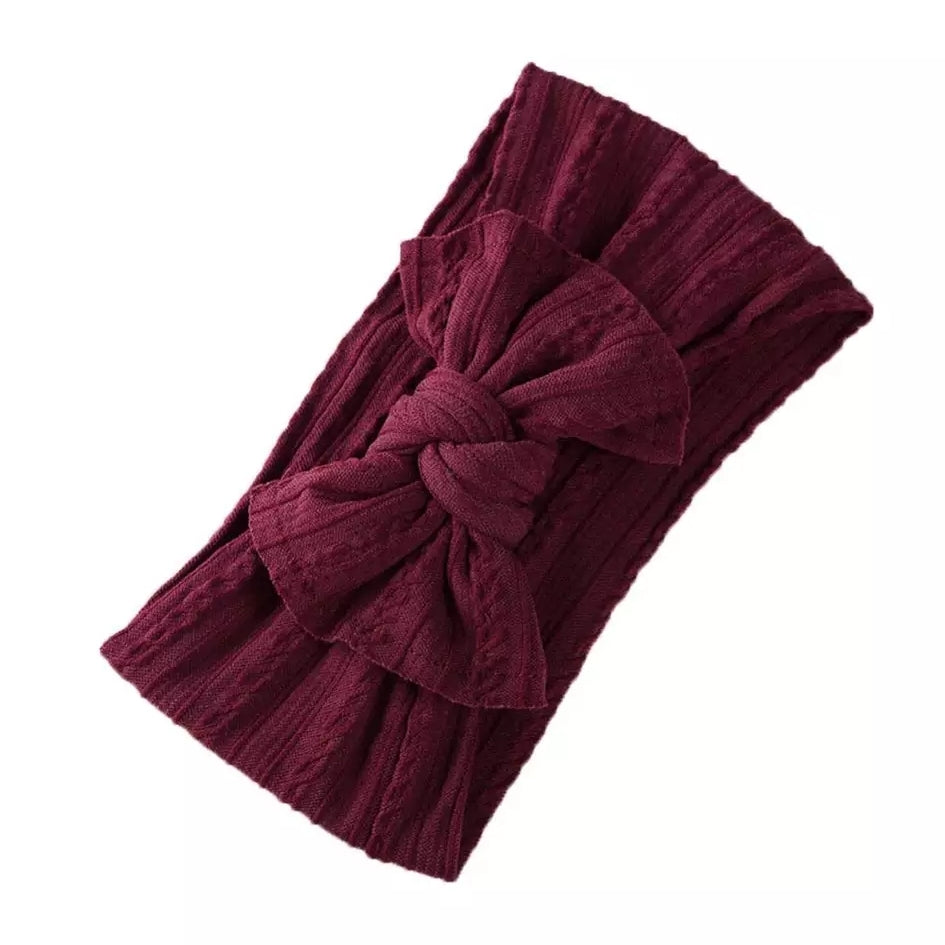 Mia Cable Knit Bow Headwrap - Burgundy - Adassa Rose