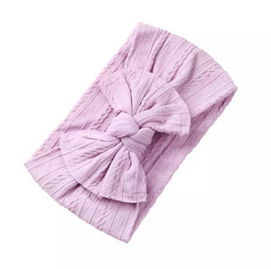 Mia Cable Knit Bow Headwrap - Lilac - Adassa Rose
