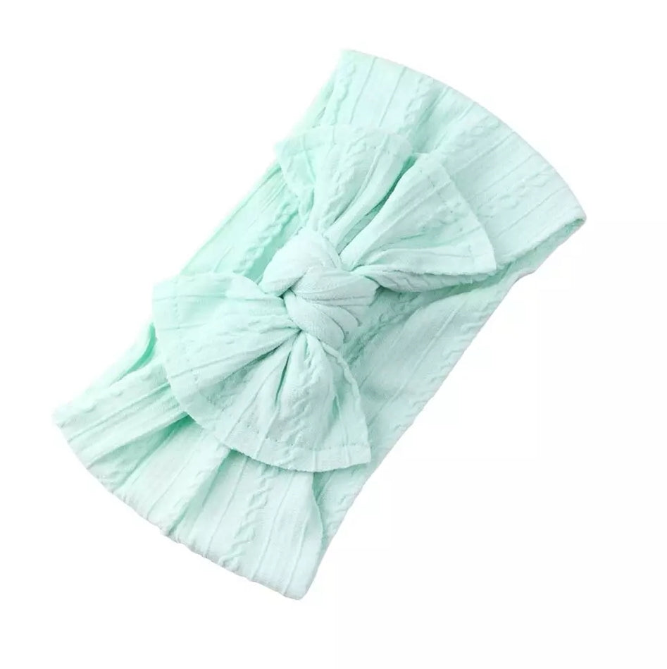Mia Cable Knit Bow Headwrap [Mint] - Adassa Rose