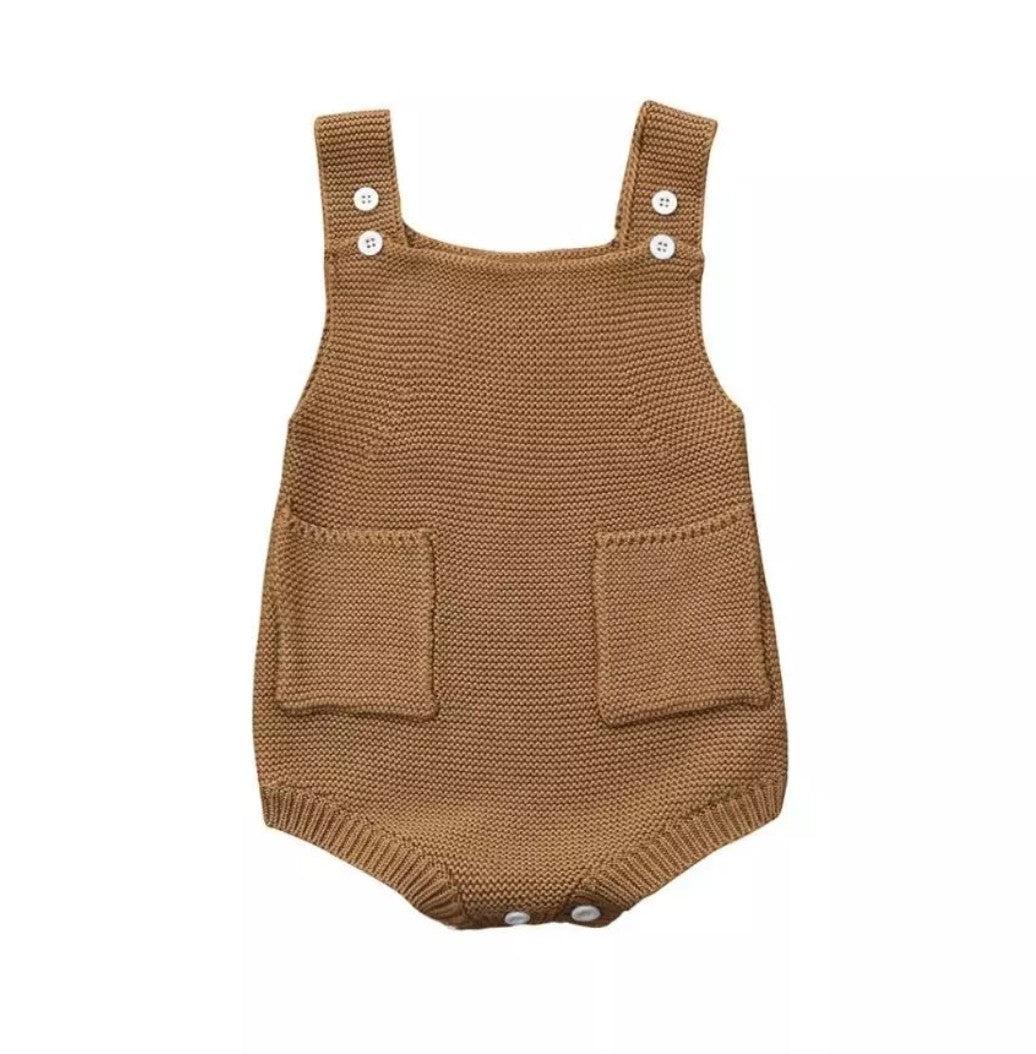 Knitted Pocket Romper - Mocha - Adassa Rose