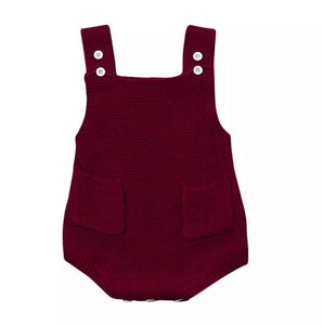 Knitted Pocket Romper - Wine - Adassa Rose