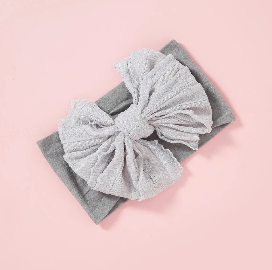 Rosie Bow Headwrap - Gray - Adassa Rose