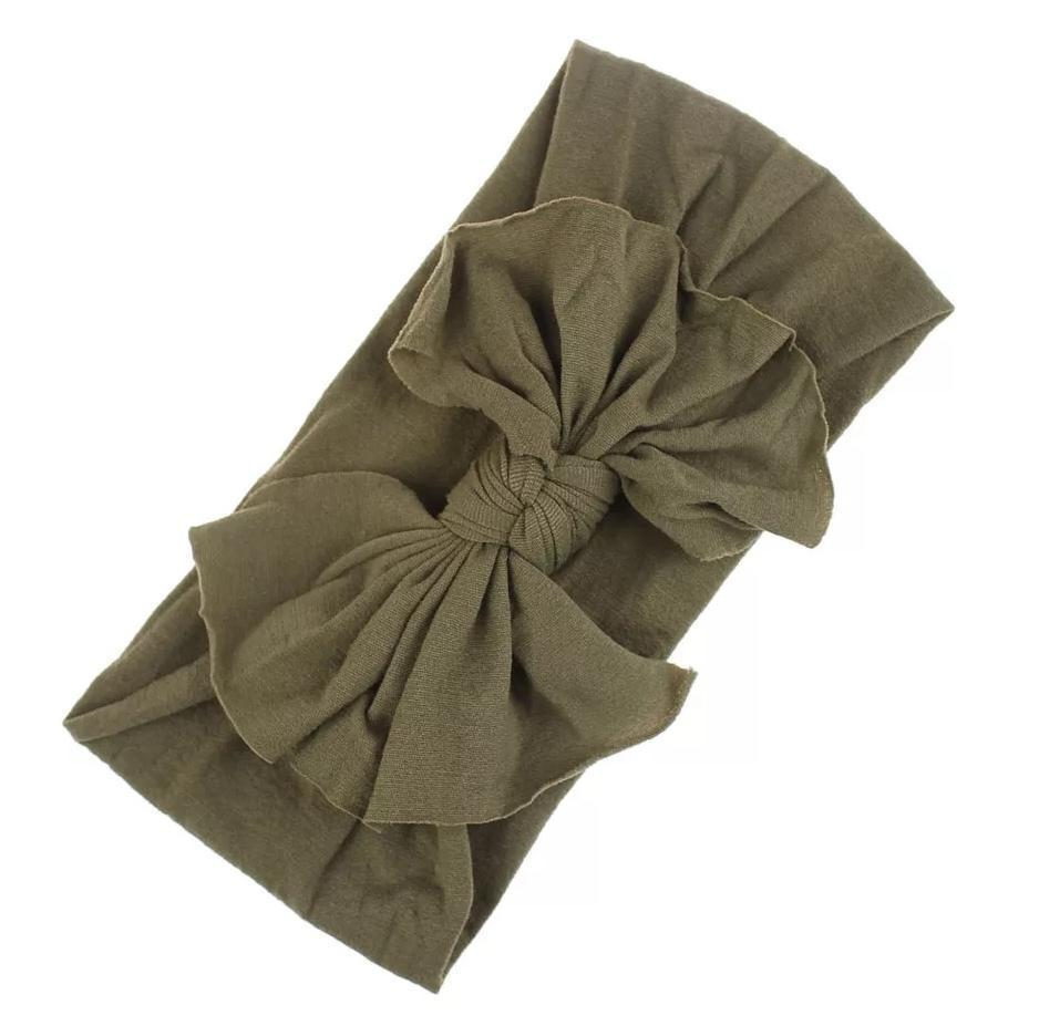 Aubrey Nylon Bow Headwrap Olive - Adassa Rose