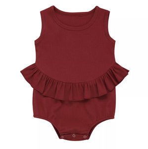 Ruffle Waist Romper Baby Girl | Deep Red - Adassa Rose