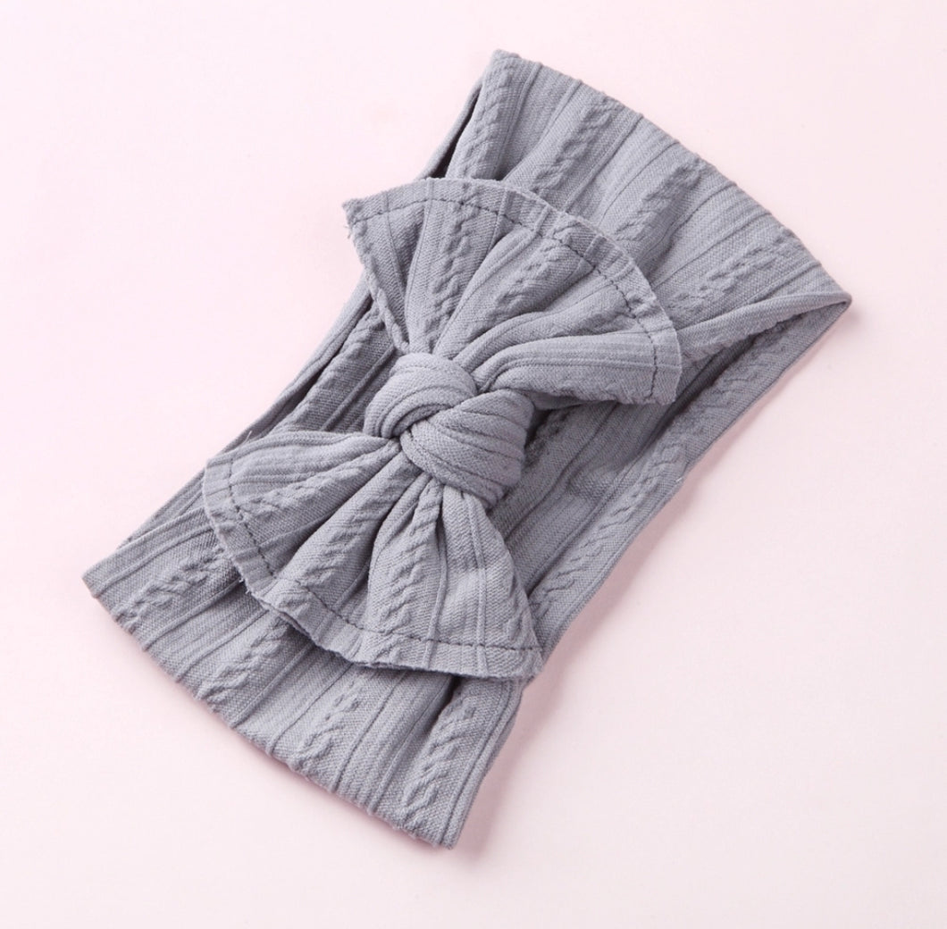 Mia Cable Knit Bow Headwrap - Gray - Adassa Rose