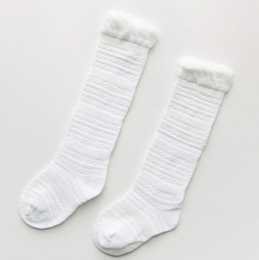 Sadie Knee High Socks White - Adassa Rose