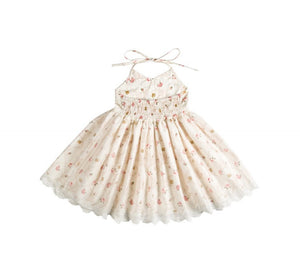 Sophie Floral Lace Dress Ivory - Adassa Rose