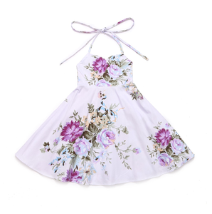 Madison Floral Halter Dress Lavender - Adassa Rose