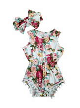 Load image into Gallery viewer, Scarlett Floral Pom Pom Romper - Adassa Rose