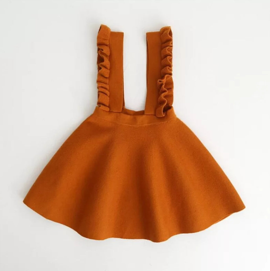 Penelope Knit Overall Dress Pumpkin Spice - Adassa Rose