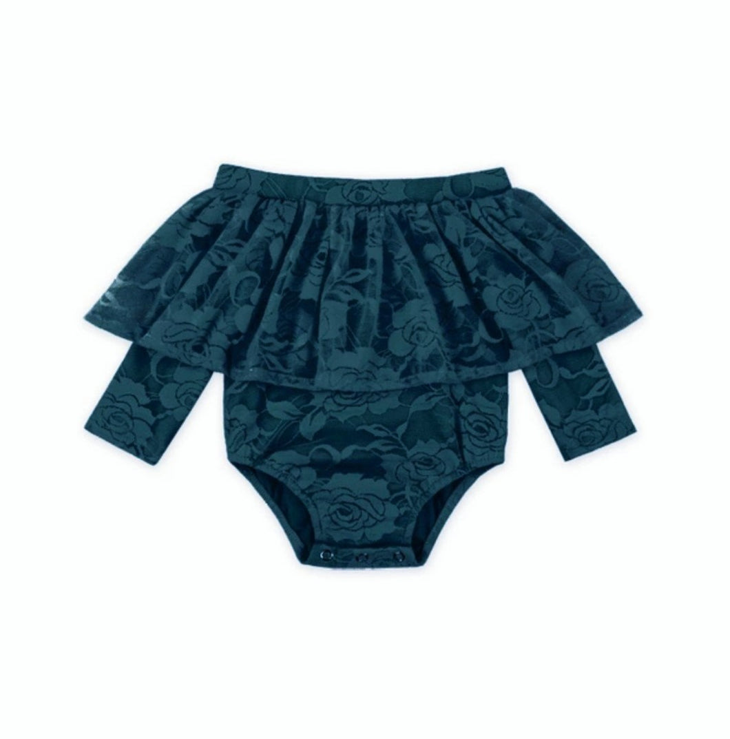 Belle Baby Girl Lace Bodysuit Teal - Adassa Rose