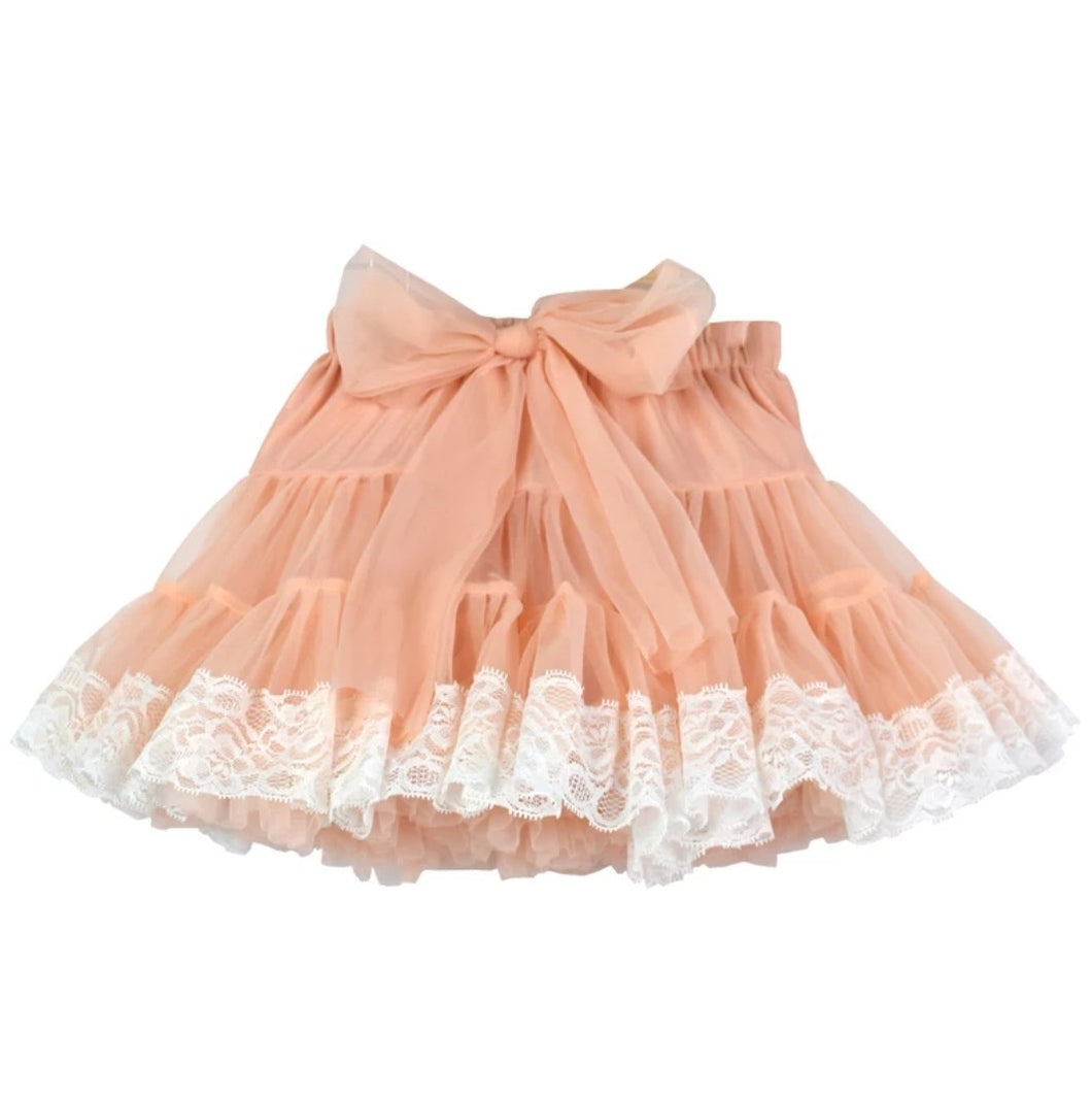 Peach Tutu Skirt Lace Chiffon - Adassa Rose