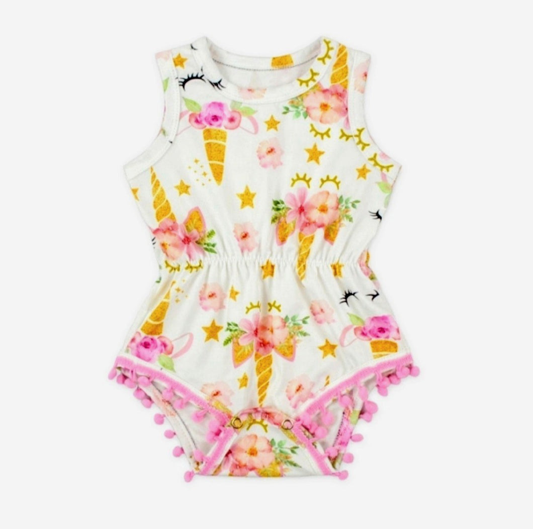 Unicorn Pom Pom Romper Girl - Adassa Rose