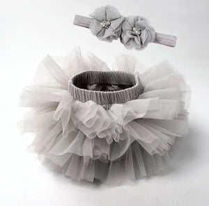 Gray Tutu Bloomer And Headband Set - Adassa Rose